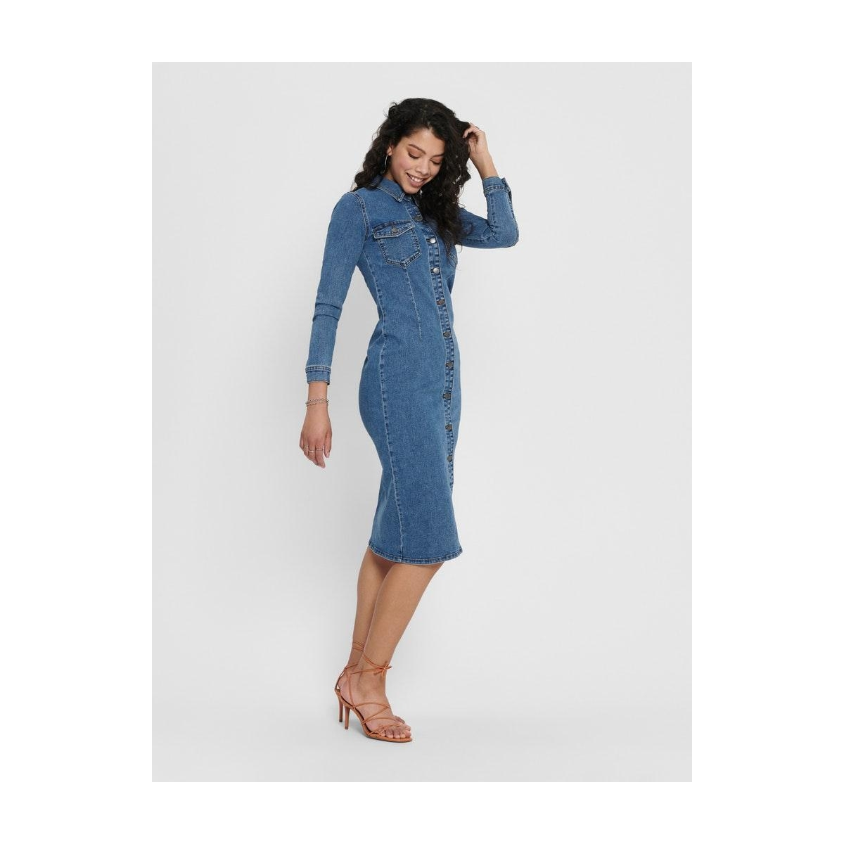 jdynew juicy long denim dress box d 15189323 jacqueline de yong jurk medium blue denim