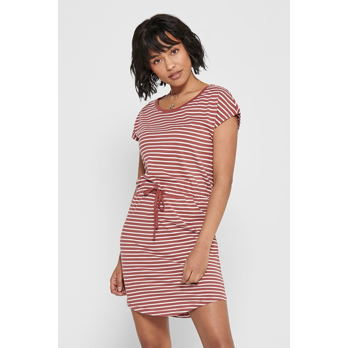 onlmay life s/s dress noos 15153021 only jurk apple butter/thin strip
