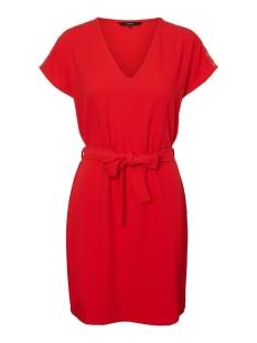 vmfana s/s short dress wvn lcs 10226098 vero moda jurk goji berry/light gold