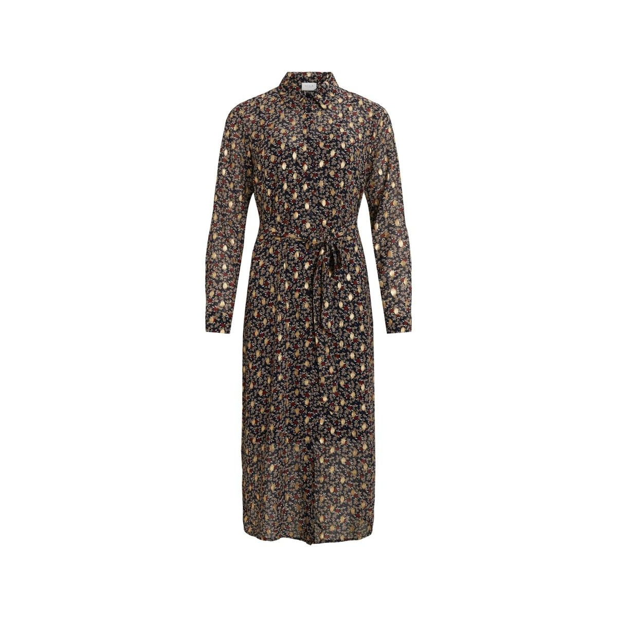 visunaraliza l/s midi shirt dress/l 14060369 vila jurk navy blazer/liza