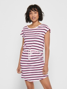 onlmay life s/s dress noos 15153021 only jurk cloud dancer/neon pink