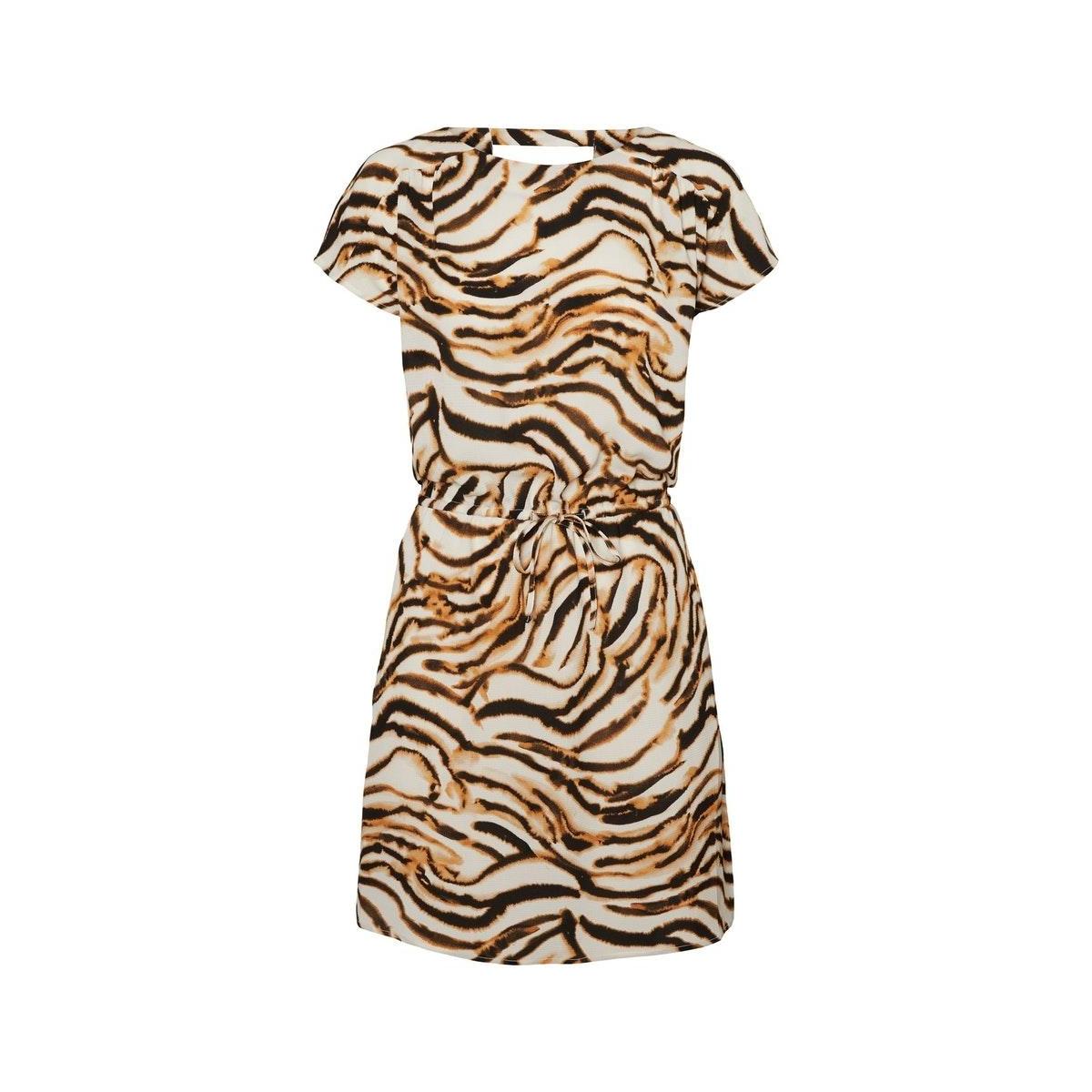 vmsasha bali s/s short dress aop 10224661 vero moda jurk meerkat/courtney