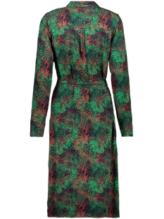 dress aop leaves with belt 97818 geisha jurk green/red combi