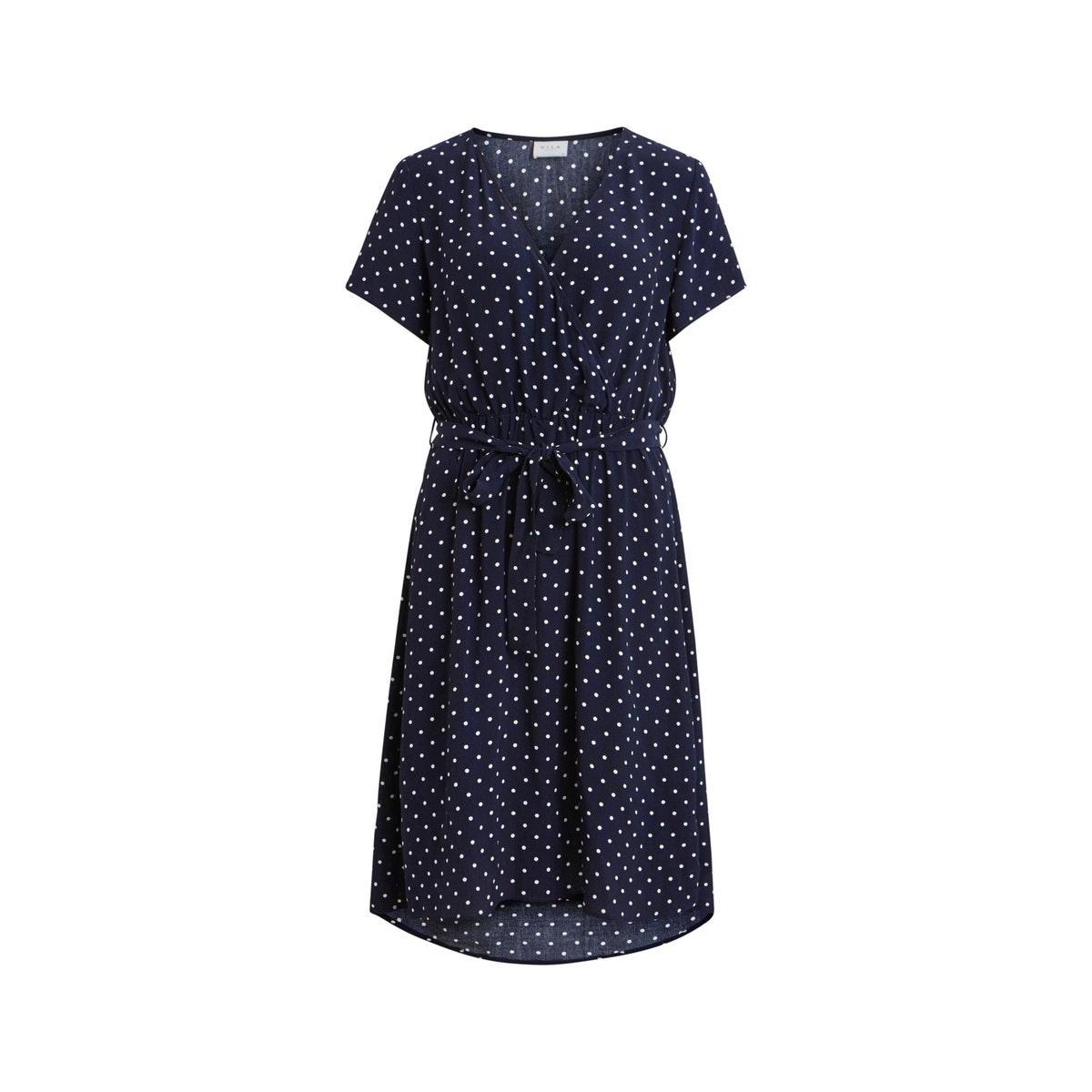 viprimera wrap s/s dress-fav lux 14055567 vila jurk nazy blazer/snow white