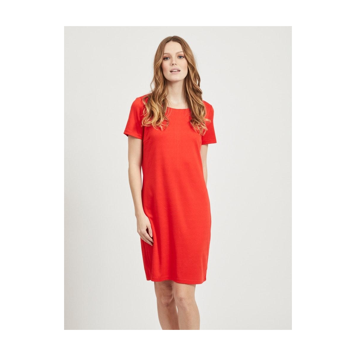 vitinny new s/s dress - fav 14044396 vila jurk flame scarlet