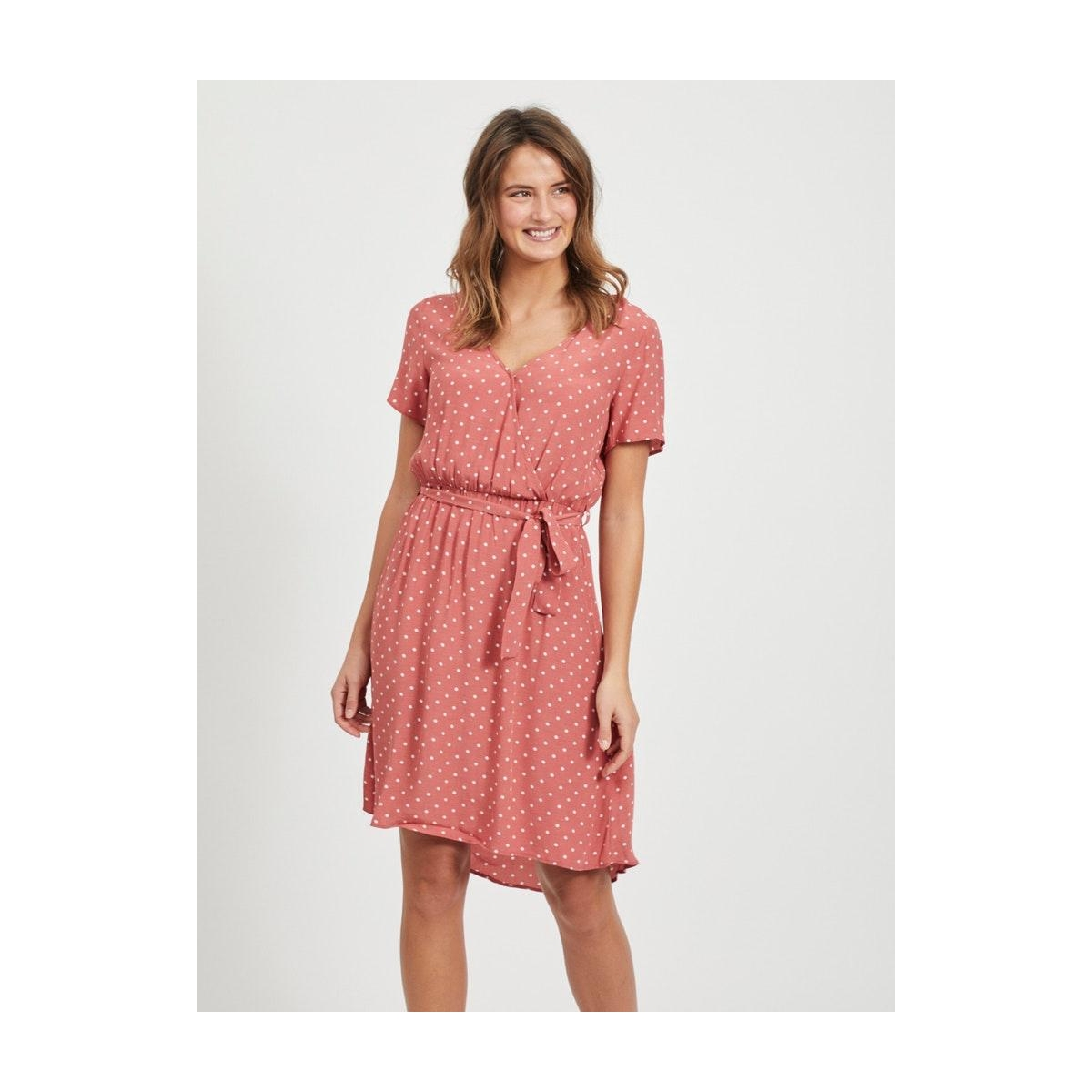 viprimera wrap s/s dress-fav lux 14055567 vila jurk dusty  cedar/snow white