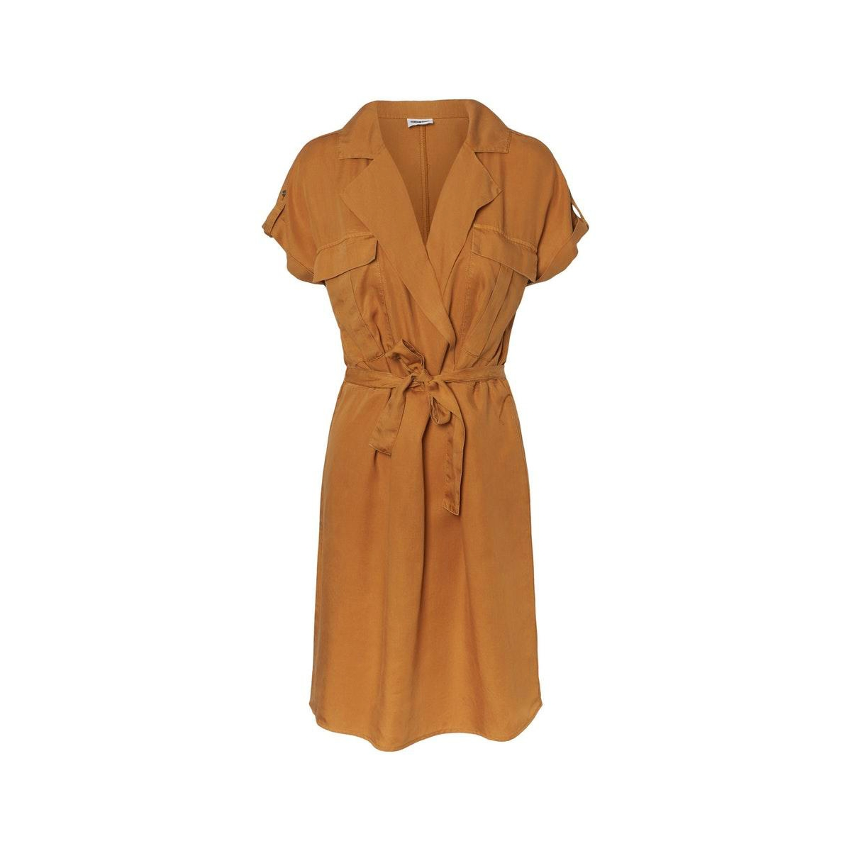 nmvera s/s endi tencel shirt dress 27006912 noisy may jurk brown sugar
