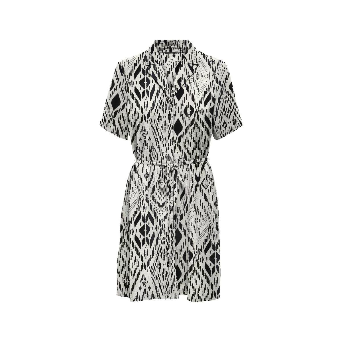 onlnova lux s/s button dress aop wv 15202530 only jurk cloud dancer/tribal