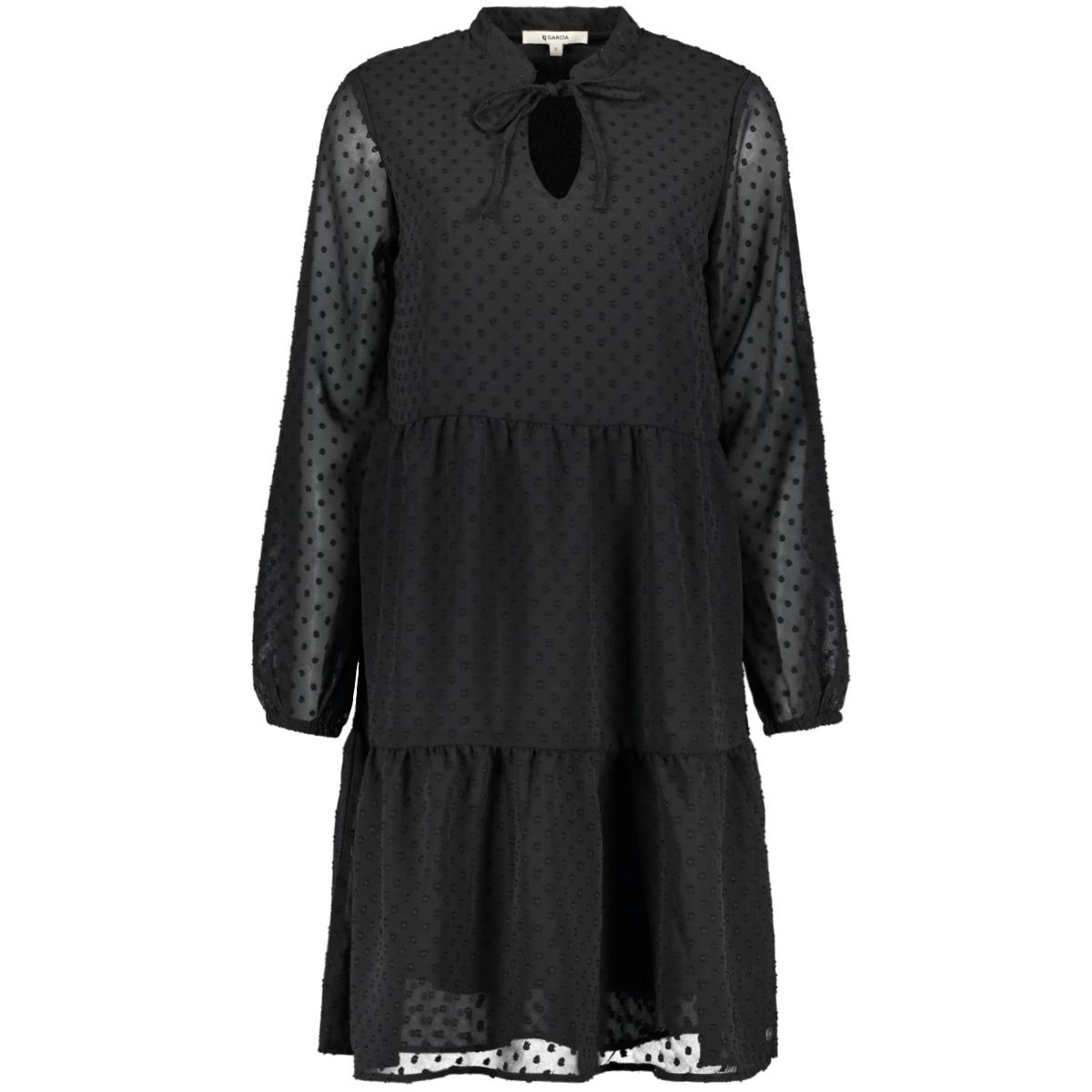 jurk met doorzichtige mouwen ge000306 garcia jurk 60 black