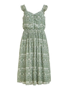 Vila Jurk VIDAISY MIDI DRESS/DC 14057569 GREEN MILIEU/AOP DOT