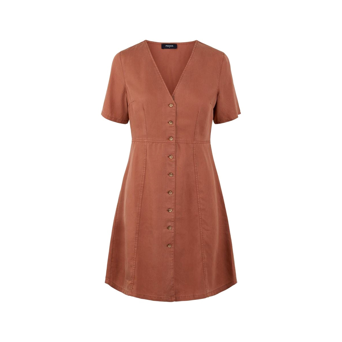 pcwhy ss lyocell dress-bi bc 17107431 pieces jurk copper brown