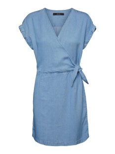Vero Moda Jurk VMLISA SS SHORT WRAP DRESS GA 10225406 Light Blue Denim