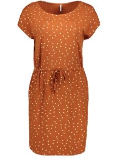 Only Jurk ONLMANYA S/S DRESS JRS 15217787 Ginger Bread/GOLD FOIL