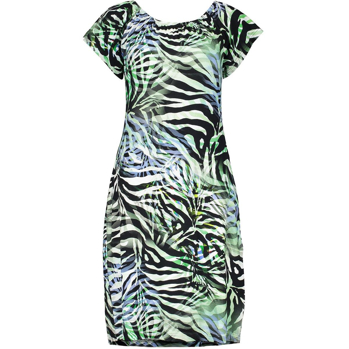 may dress elastic neck ss 07042 60 geisha jurk blue/black