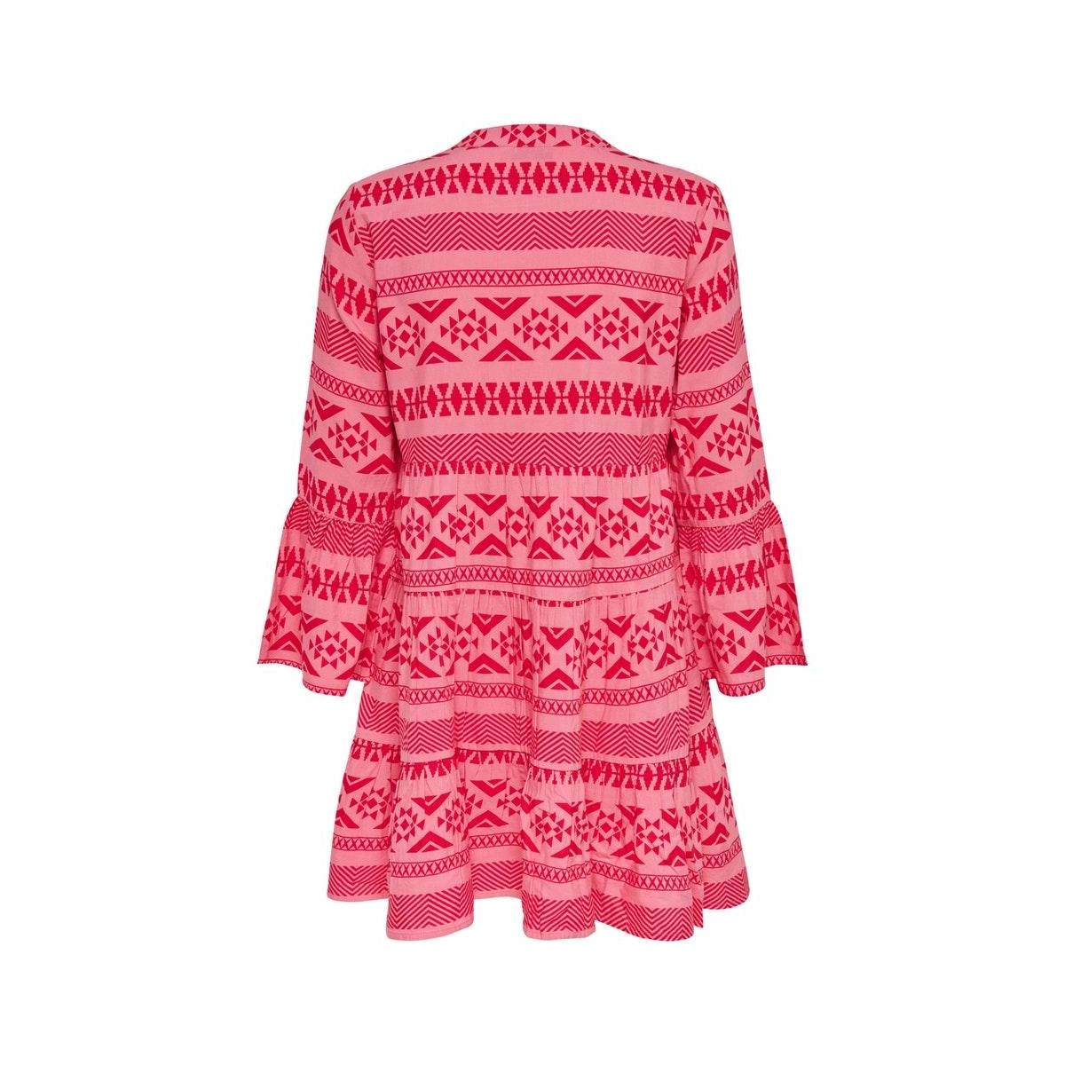onllucca athena 3/4 dress wvn 15204727 only jurk pink lemonade/graphic 2