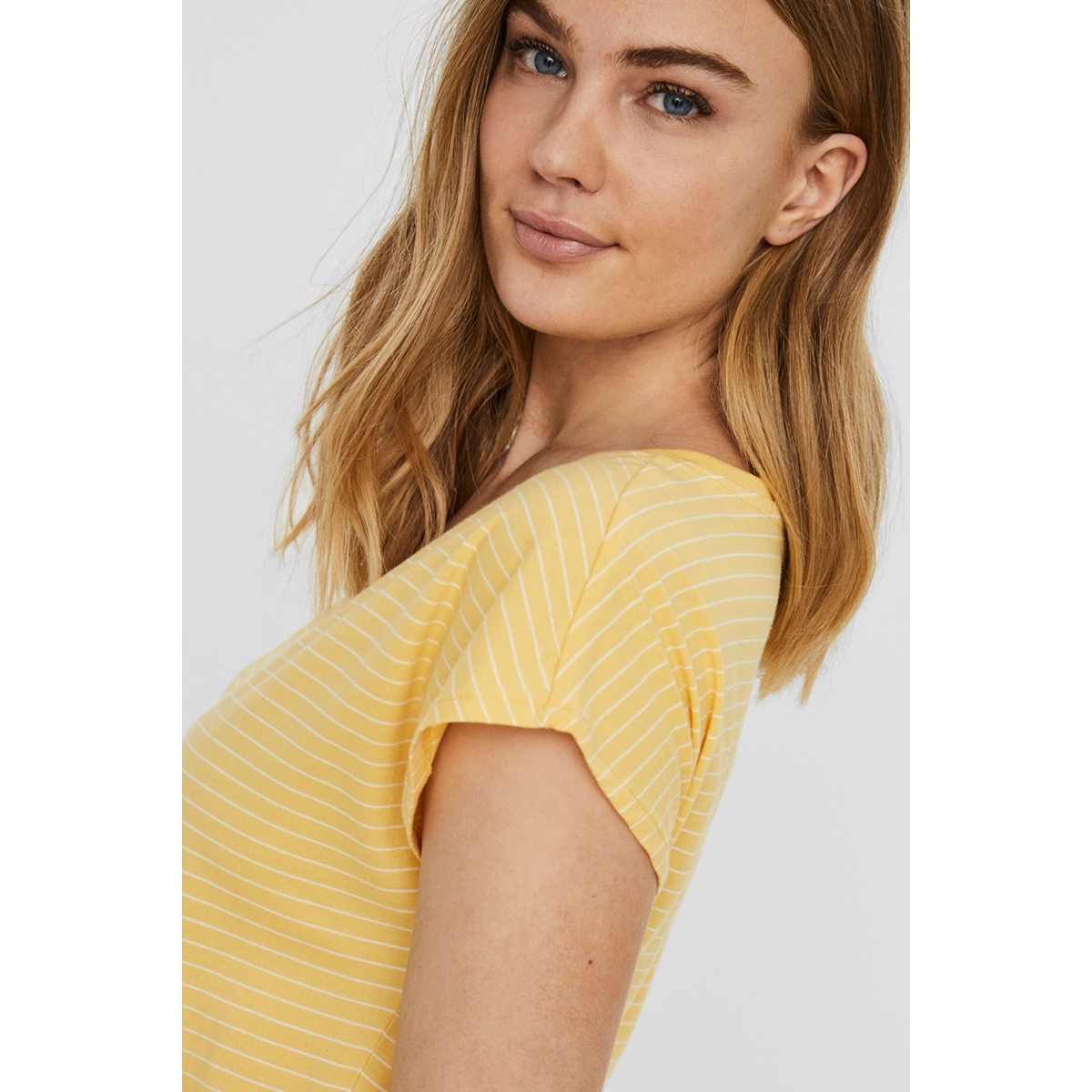 vmapril ss short dress ga color 10213298 vero moda jurk banana cream/stripes