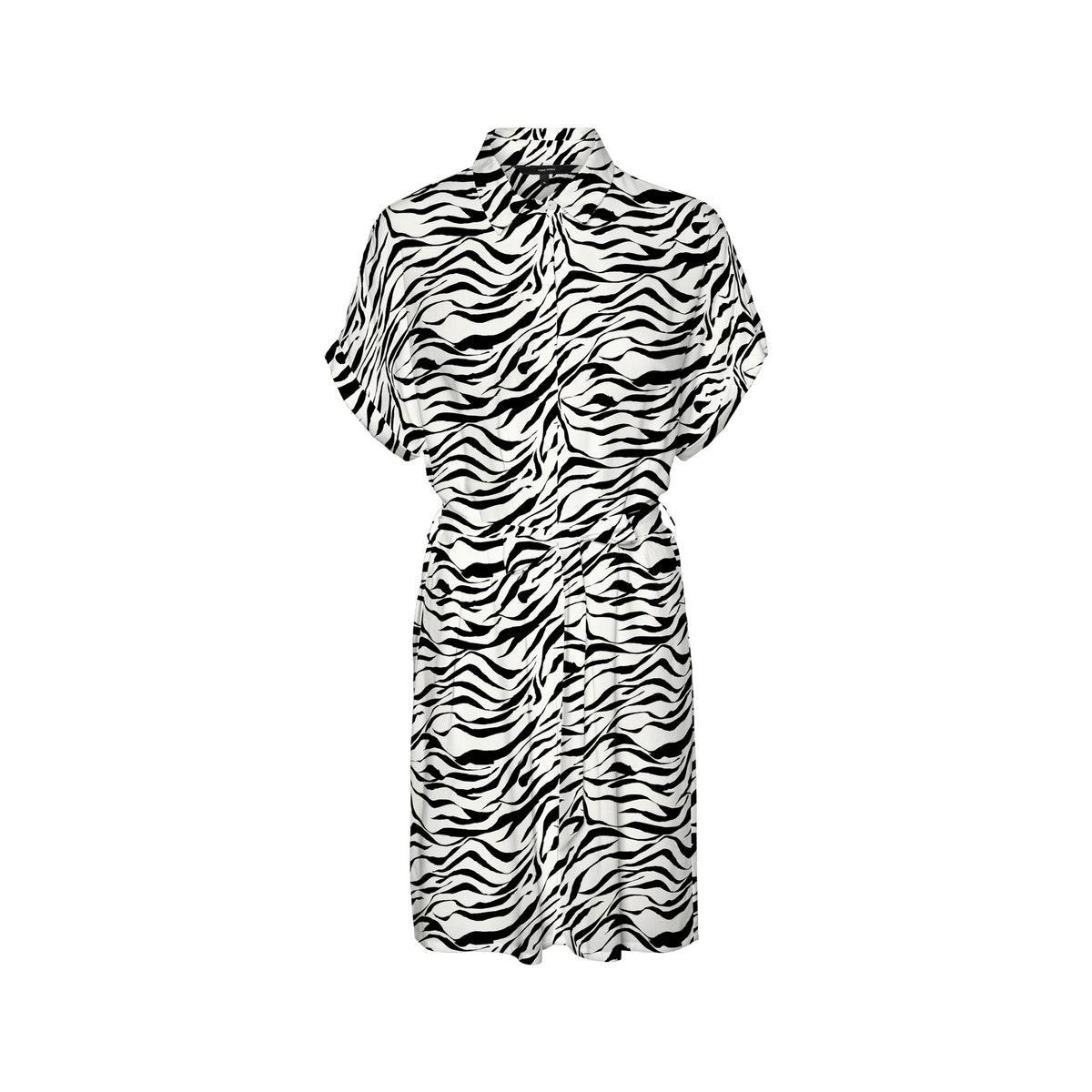 vmsimply easy s/s shirt dress wvn g 10227837 vero moda jurk black/zanzana