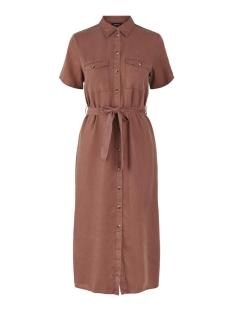 pcnola ss midi tie belt lyocell dress bc 17104701 pieces jurk copper brown