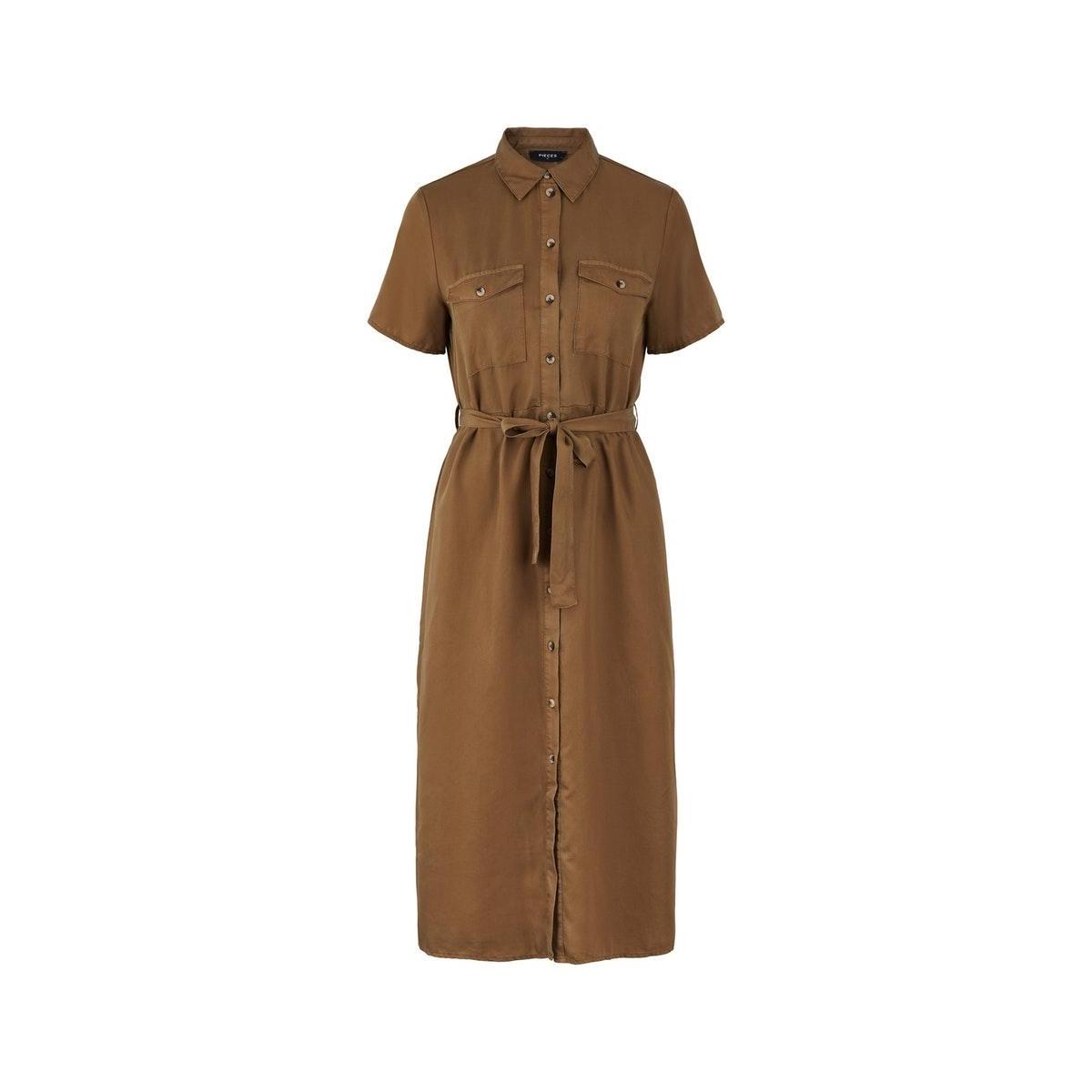 pcnola ss midi tie belt lyocell dress bc 17104701 pieces jurk kangaroo