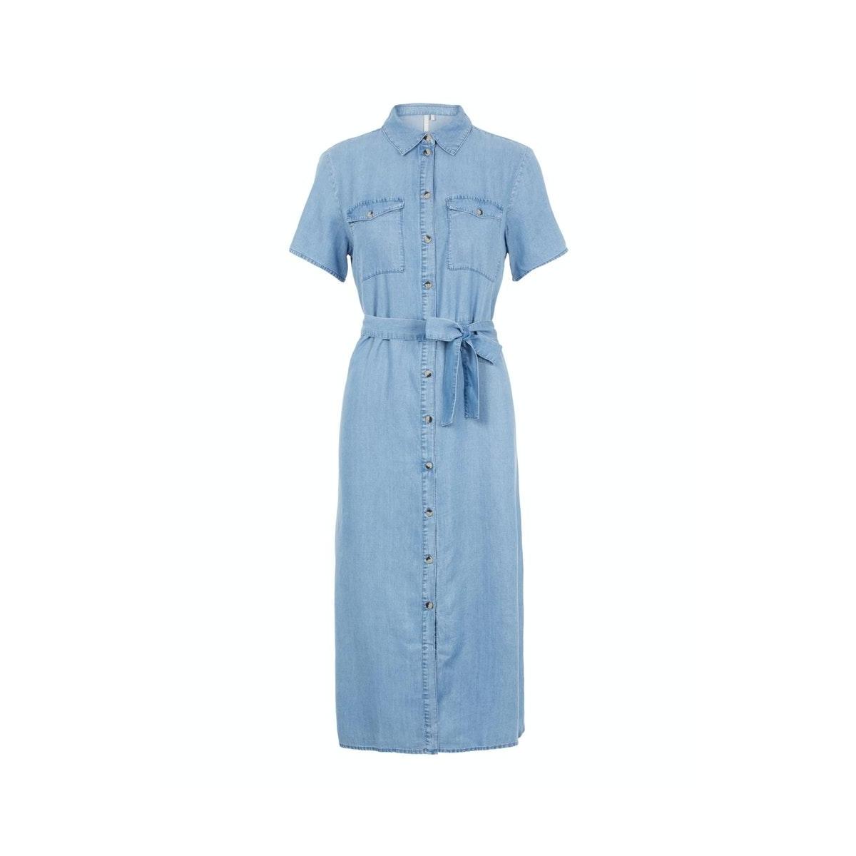 pcnola ss midi tie belt lyocell dress bc 17104701 pieces jurk light blue denim