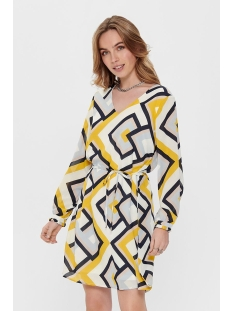 jdyrantini l/s dress wvn 15196978 jacqueline de yong jurk cloud dancer/multi geom