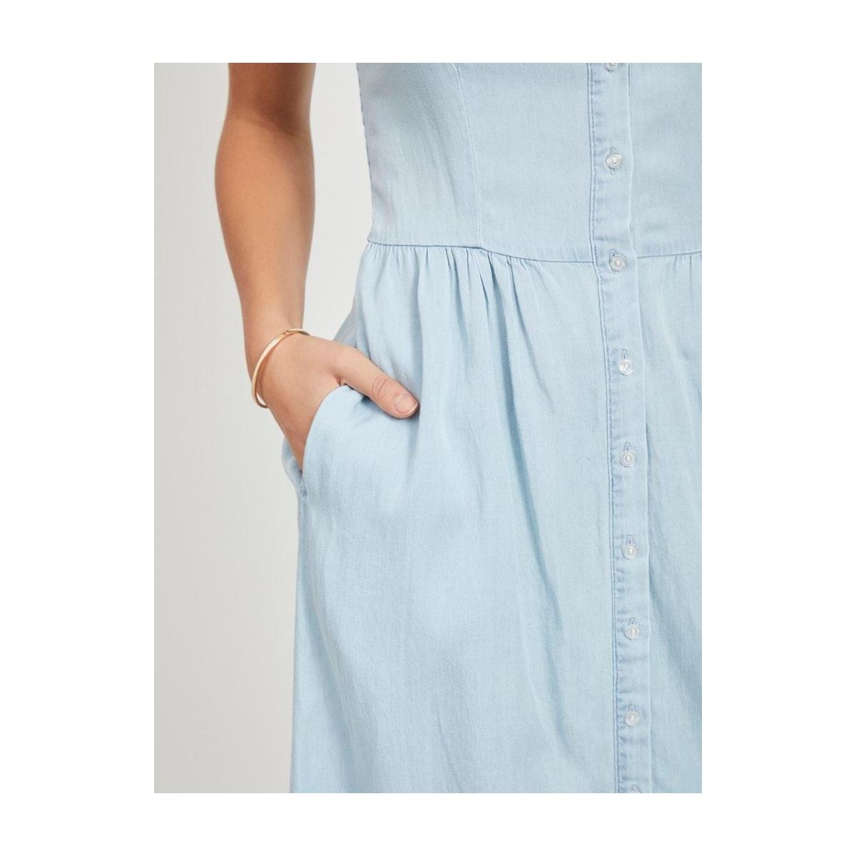 vibista strap midi dress/su/ki 14056659 vila jurk light blue denim
