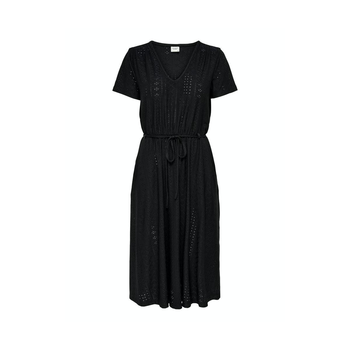 jdyfatinka s/s  v-neck belt dress jrs 15204467 jacqueline de yong jurk black