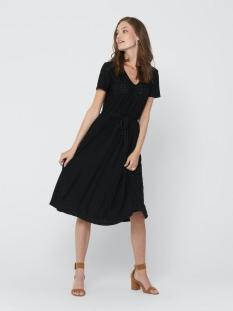 Jacqueline de Yong Jurk JDYFATINKA S/S  V-NECK BELT DRESS JRS 15204467 BLACK