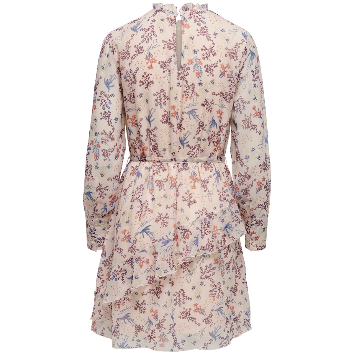 jdykippa l/s frill dress wvn 15200180 jacqueline de yong jurk sandshell/flowers
