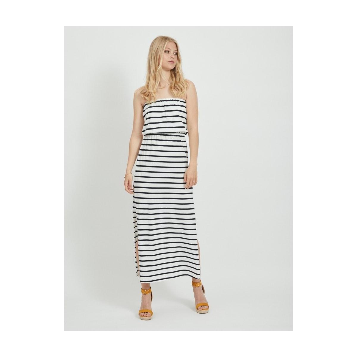 vicalina strapless maxi dress 14057581 vila jurk cloud dancer/black
