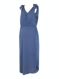 Mama-Licious Positie jurk MLSKYLAR TESS S/L JERSEY ABK DRESS 20009767 Blue Indigo