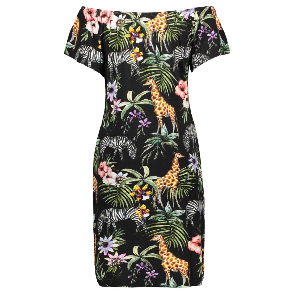 dress aop elastic neck ss geisha jurk multi animal