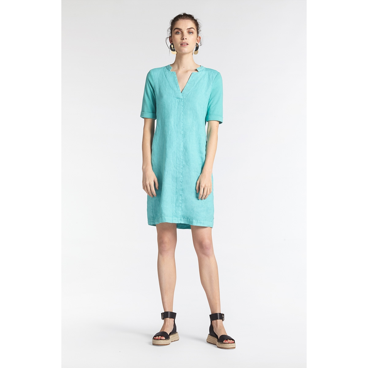 linnen jurk 23001743 sandwich jurk 51004