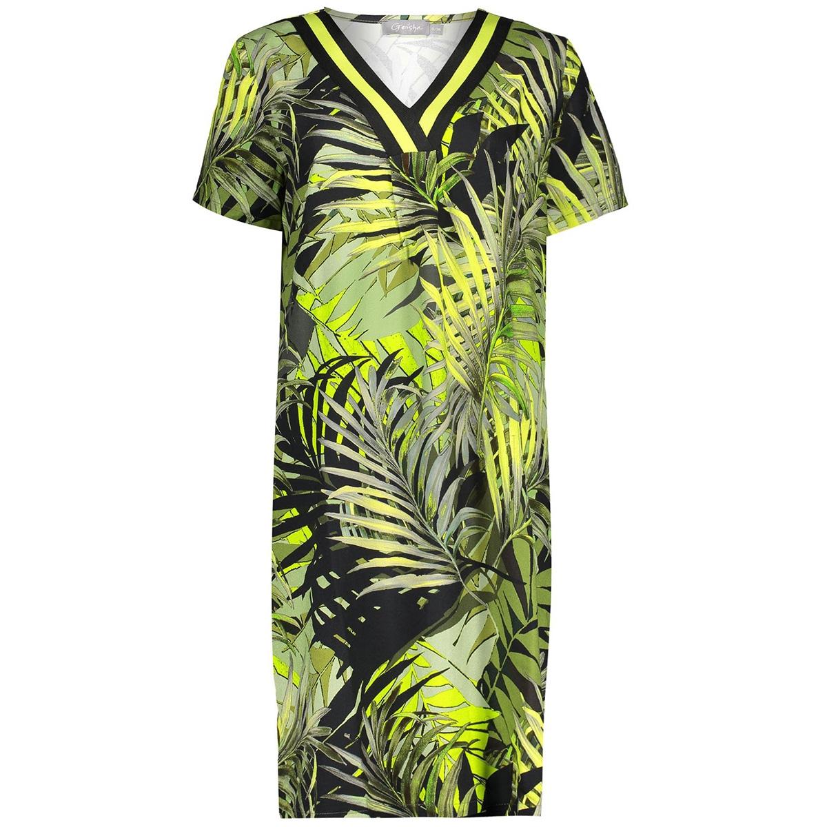 dress aop leaves v neck tape ss 07100 20 geisha jurk army/yellow combi