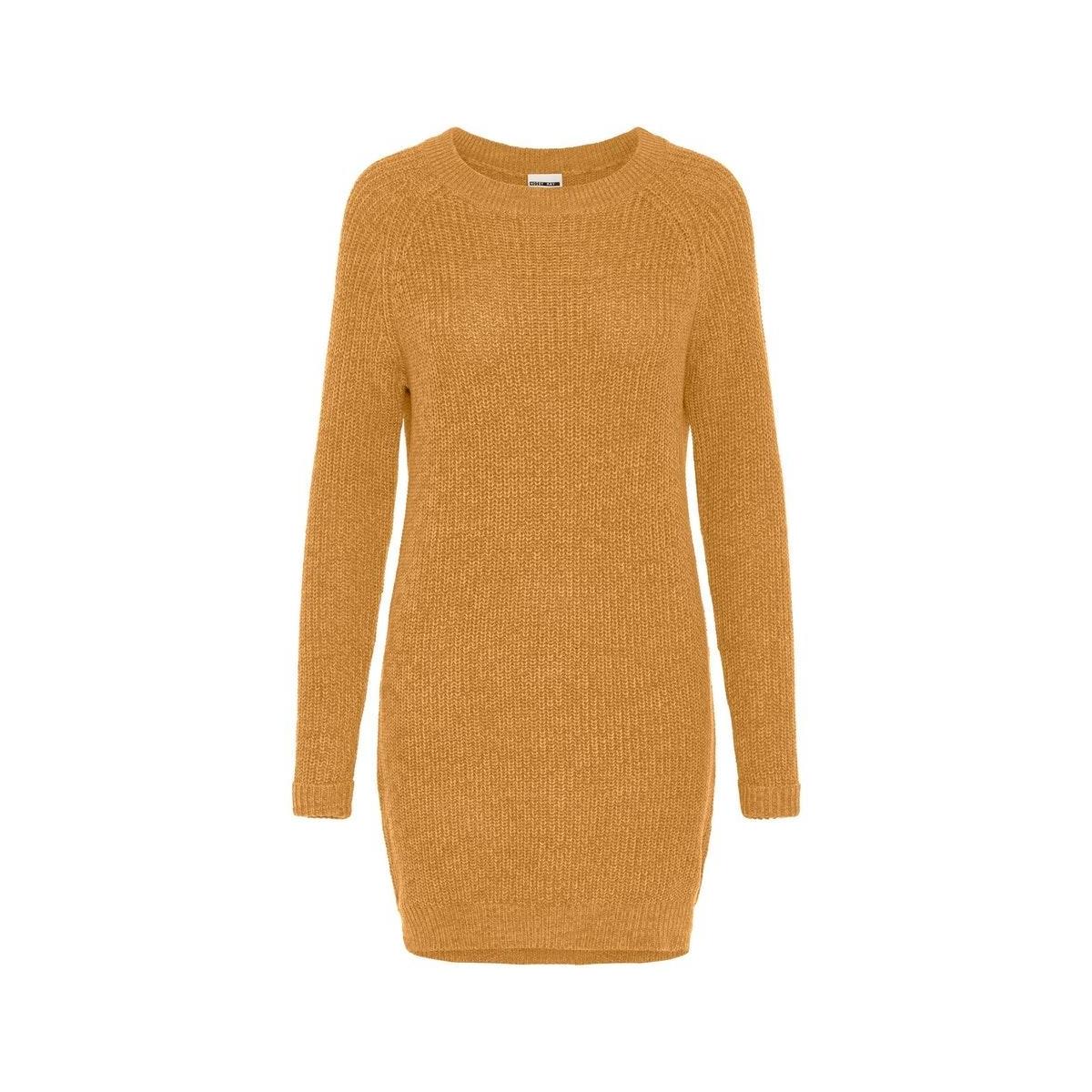 nmsiesta l/s o-neck knit dress bg 27002835 noisy may jurk inca gold
