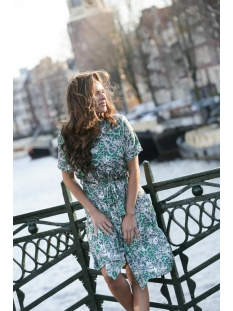 stacey printed button dress 202 zoso jurk green tones