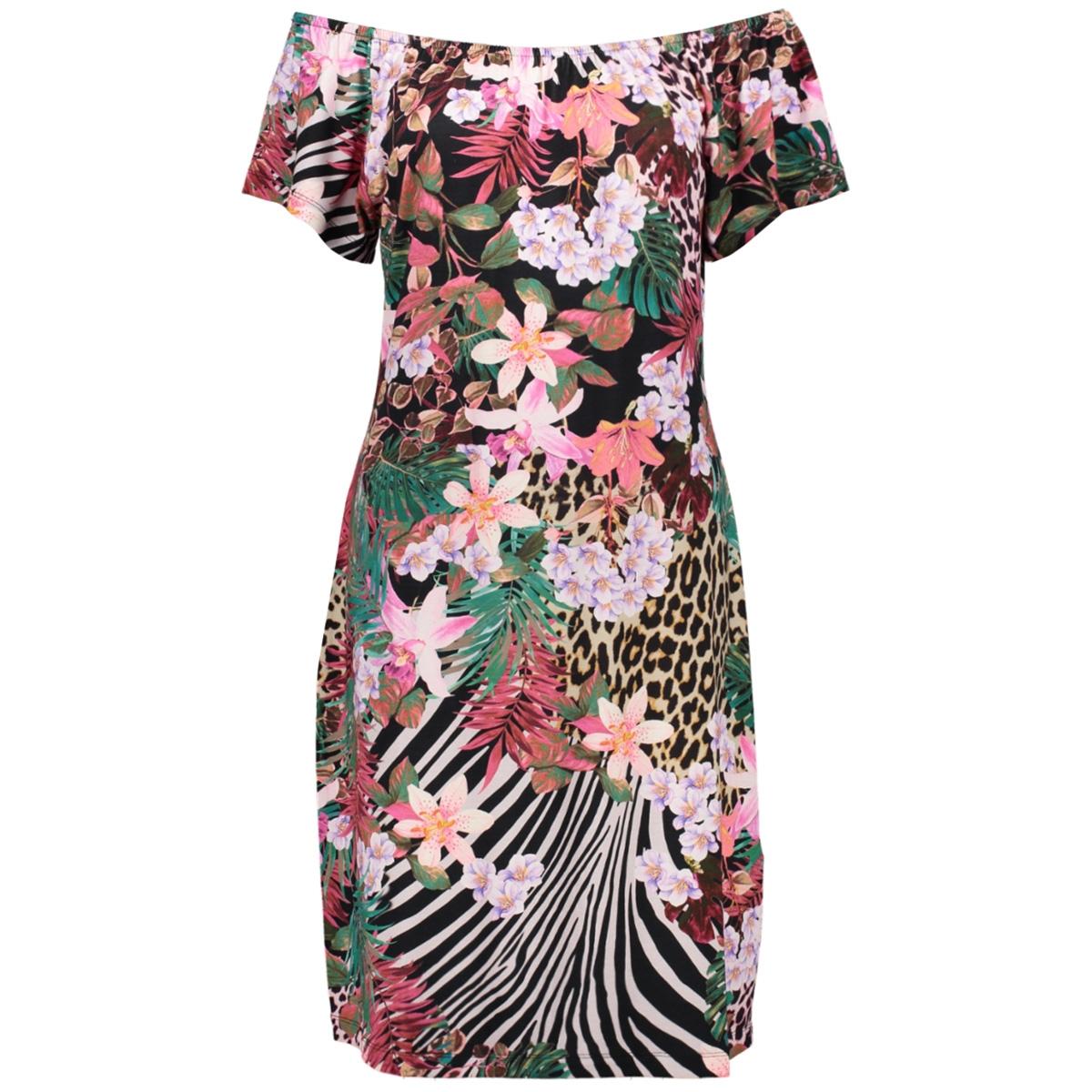 may dress elastic neck ss 07042 60 geisha jurk 000904 multi fuchsia