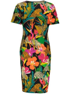 dress aop multi leaves ss 07097 20 geisha jurk black/coral combi