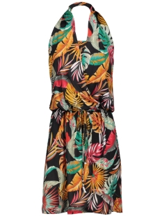 halter dress 3684 iz naiz jurk tropical leafs