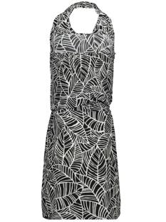 halter dress 3684 iz naiz jurk black leaf
