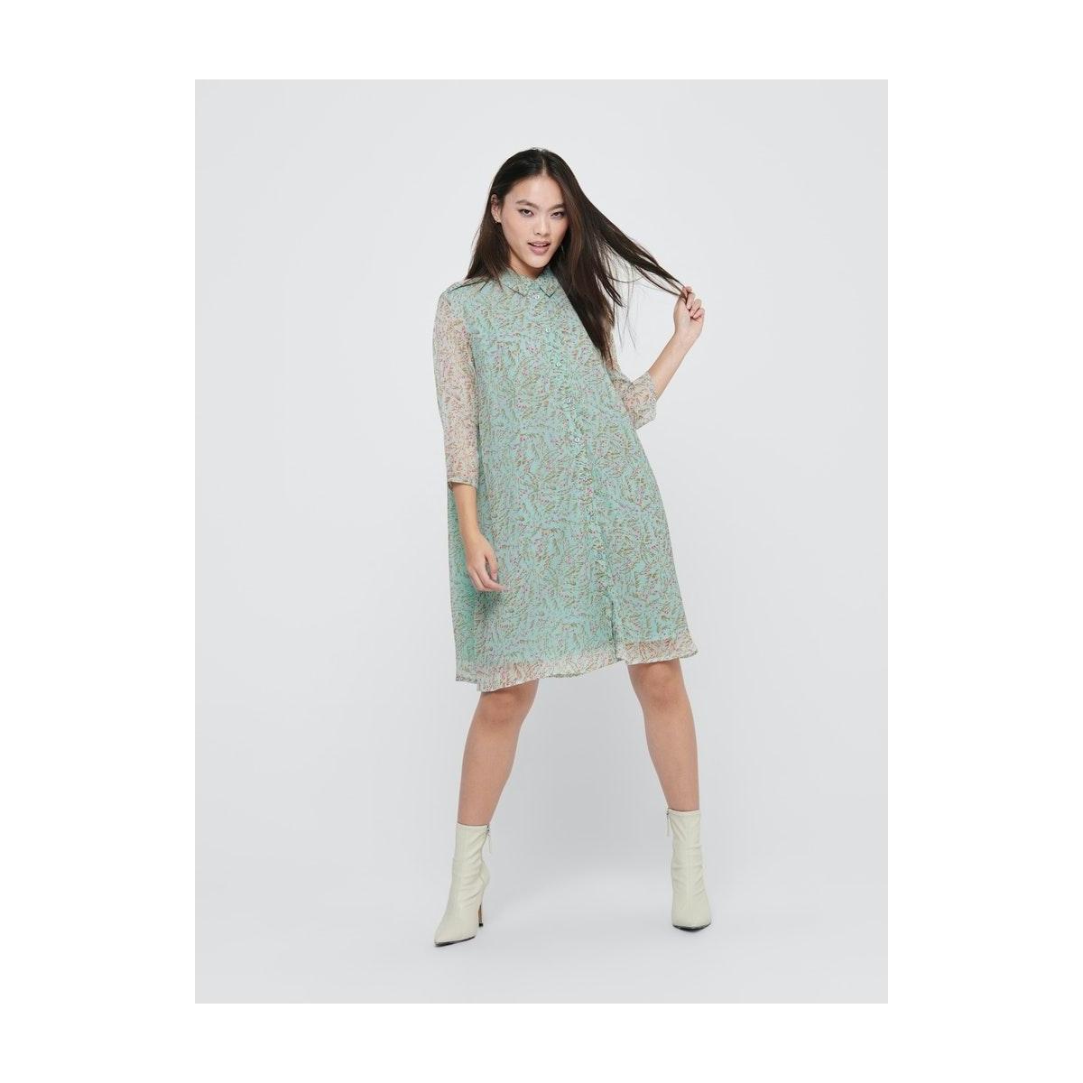 jdynelly shirt dress wvn exp 15218569 jacqueline de yong jurk blue haze/branch flo