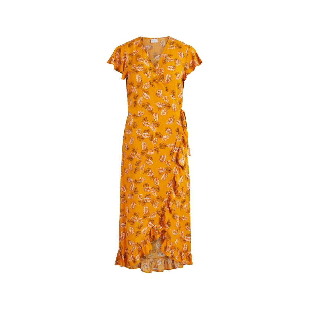 vimaskblini s/s midi wrap dress/l 14059043 vila jurk mineral yellow