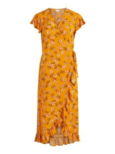 Vila Jurk VIMASKBLINI S/S MIDI WRAP DRESS/L 14059043 Mineral Yellow