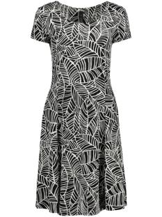 IZ NAIZ Jurk FLAIR DRESS 3220 BLACK/WHITE LEAFS
