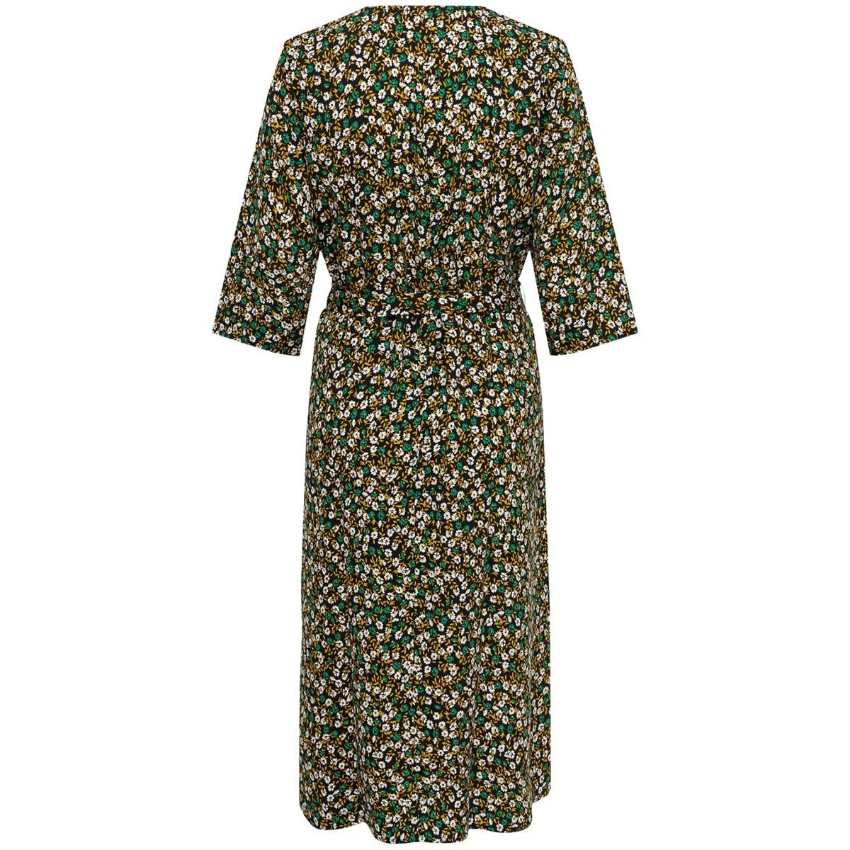 jdylion 3/4 wrap dress wvn 15207813 jacqueline de yong jurk black/cloud dancer