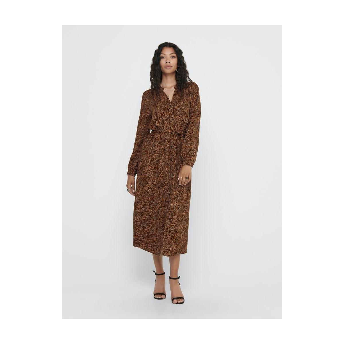 jdypearl l/s midcalf dress wvn 15209002 jacqueline de yong jurk black/ leather brown