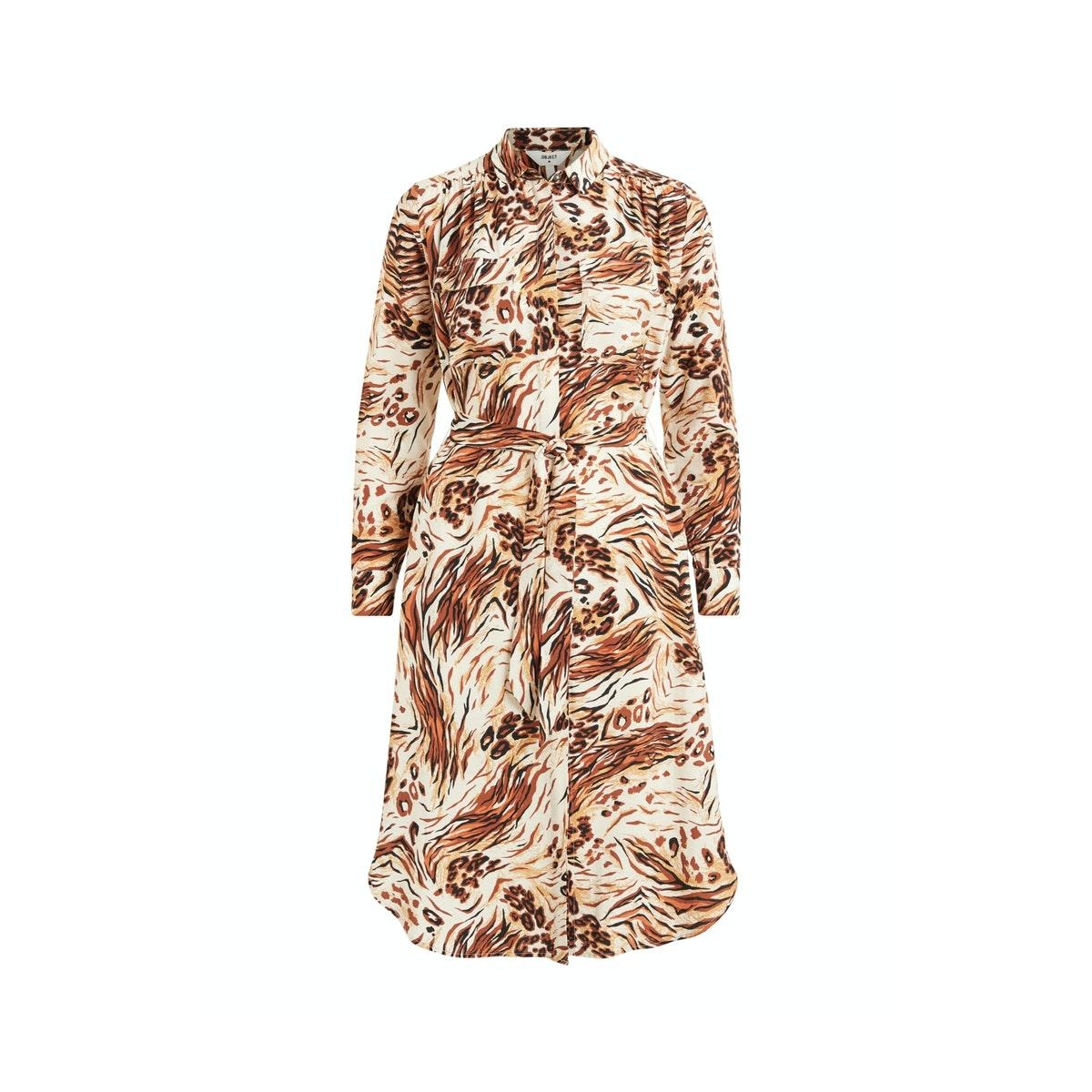 objemerson l/s shirt dress  110 23033580 object jurk sandshell/vild