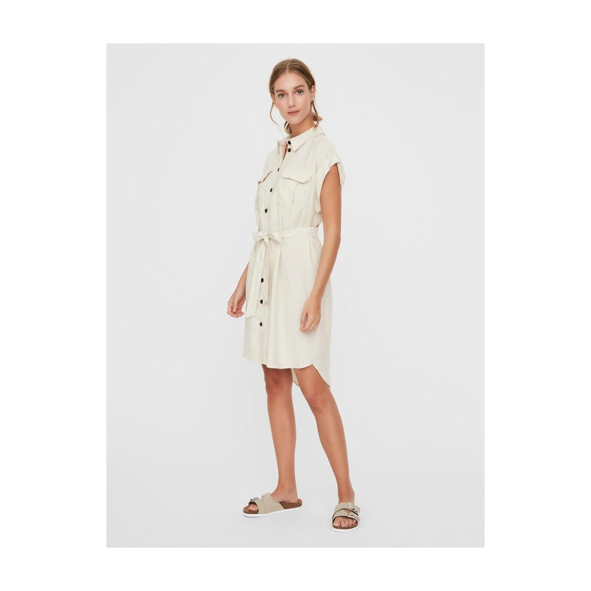 vmvenus wide s/l short shirt dress 10231935 vero moda jurk birch