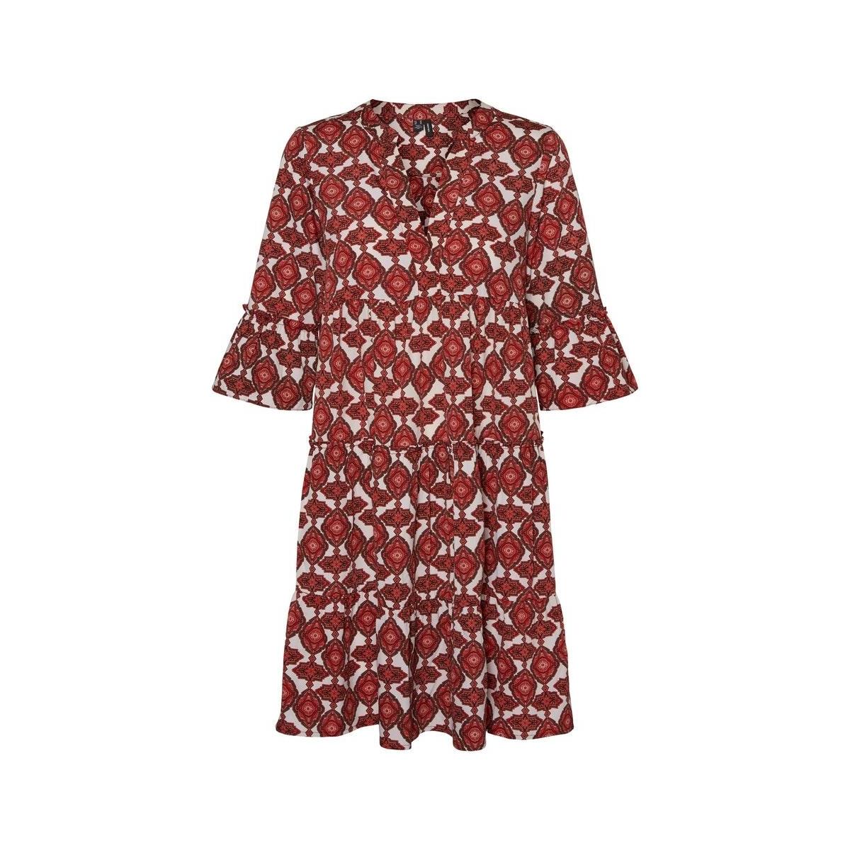 vmparia dichte 34  dress wvn ga 10234394 vero moda jurk birch/dubarry pr