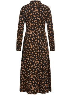 objbaya l/s long shirt dress aop se 23033332 object jurk black/chipmunk
